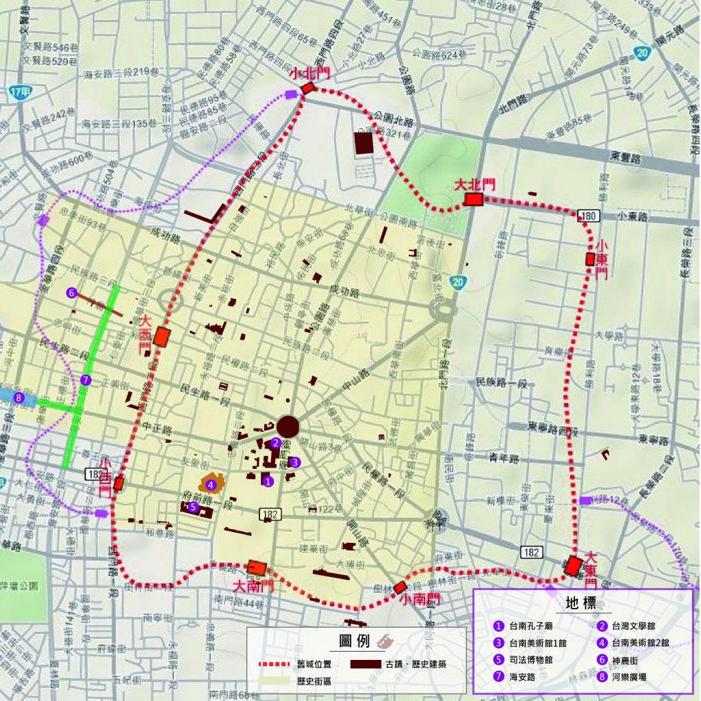台南市中心部地図